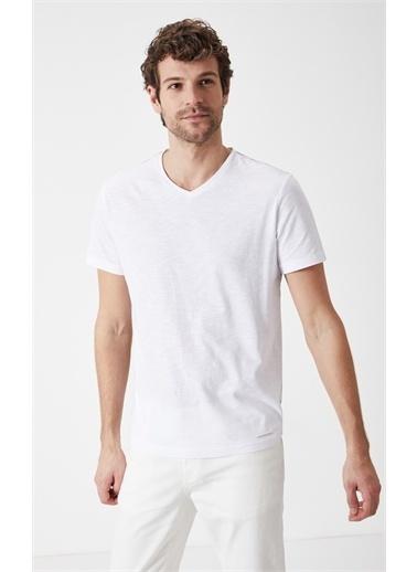 Boris Becker Kısa Kol V Yaka Basic Tshirt Beyaz